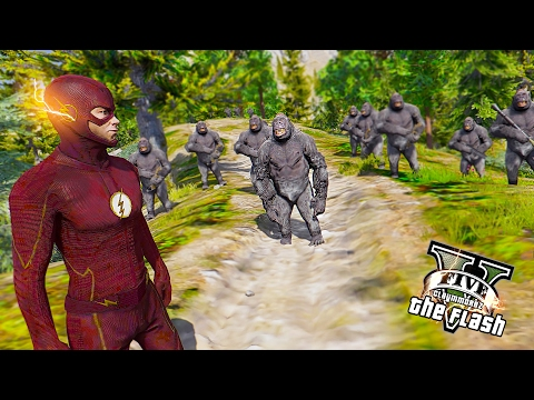 The Flash VS Gorilla Grodd ! The Gorilla City (GTA 5 Ultimate Flash Mod Gameplay)🏃🏽⚡️