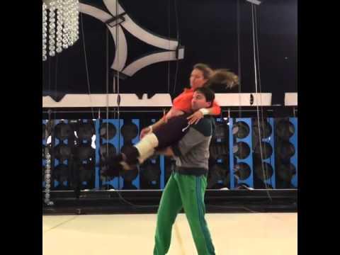 Видео, Виктория Боня на тренировке шоу Без страховки