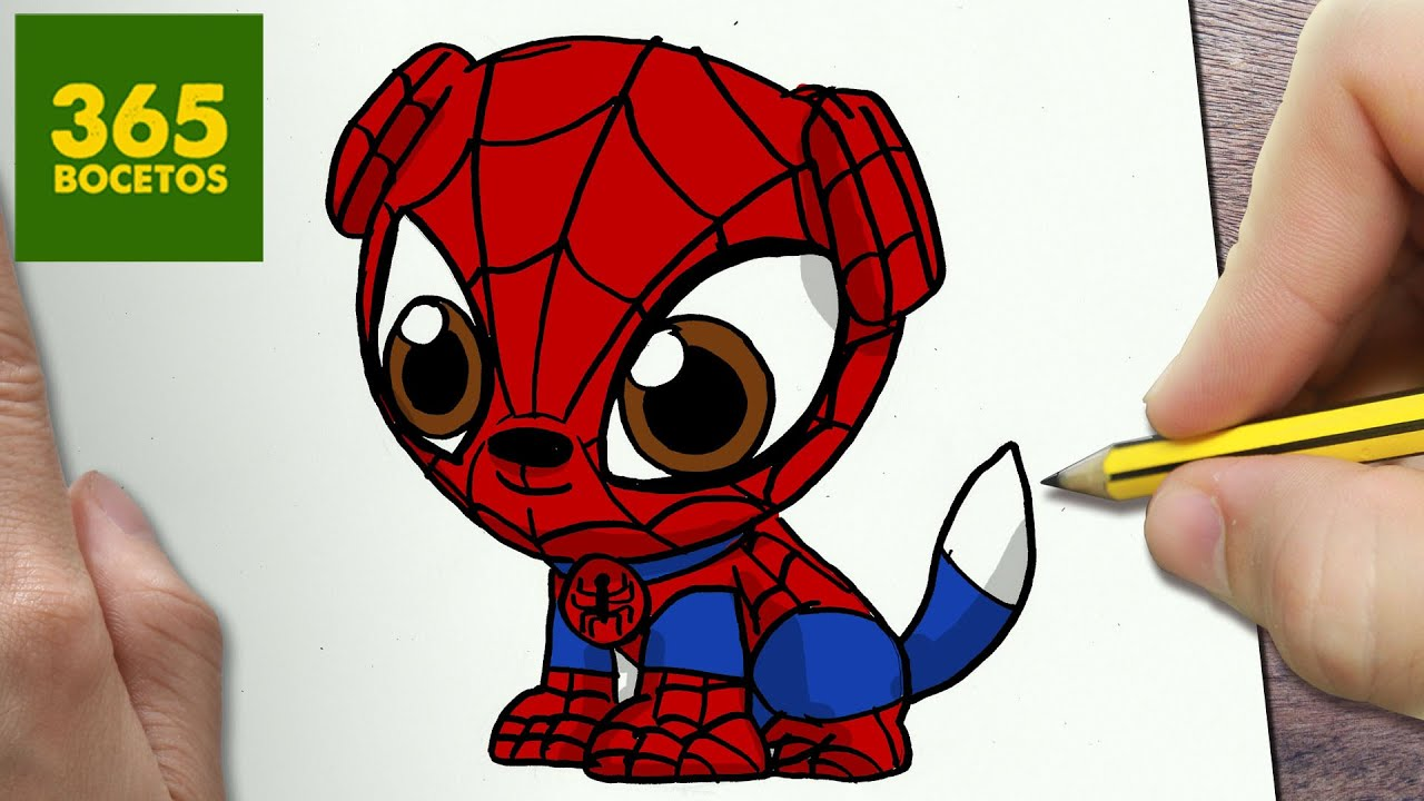 Como dibujar perro spiderman kawaii paso a paso dibujos kawaii faciles how to draw spiderman dog •marvelesa• amino