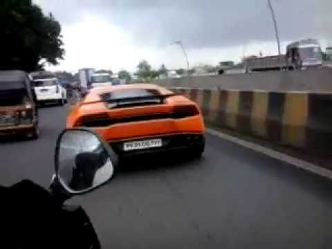 Orange Lamborghini At Mumbai Road Youtube