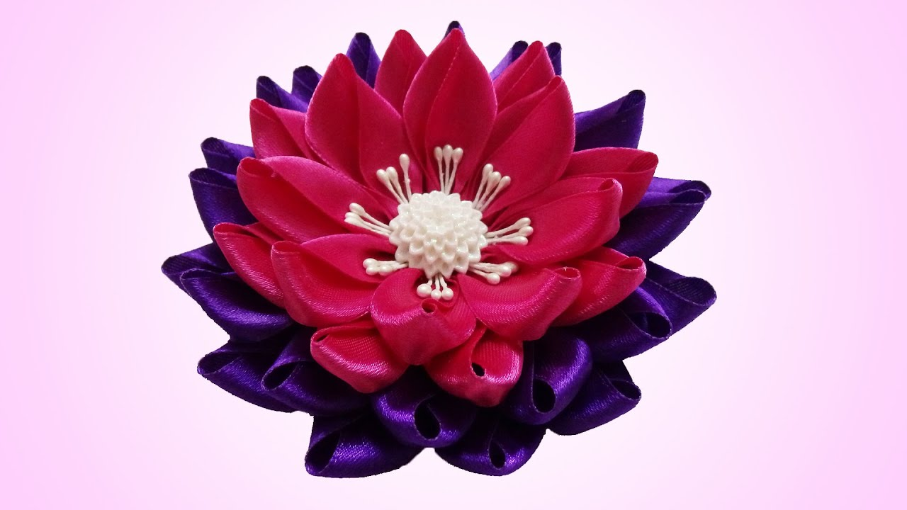 diy kanzashi flower, lotus kanzashi flower tutorial, Beautiful flower