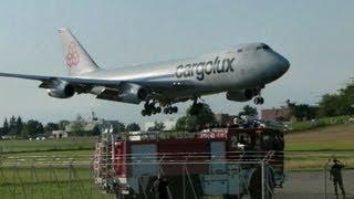 Cargolux B747F spectacular landing @ Dübendorf Airfield - 05/08/2013