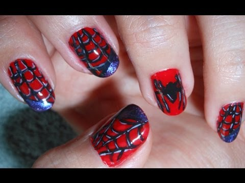 Spiderman nail tutorial youtube prinsesfo Choice Image