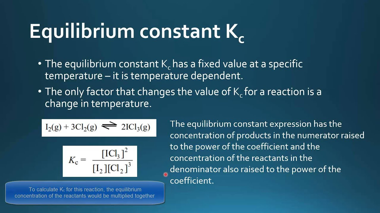 chemical reaction and equilibrium constant expression Chemical equilibrium  the conventional equilibrium constant expression  what is the equilibrium constant for a reaction that has a value of g o = -418 kj at.