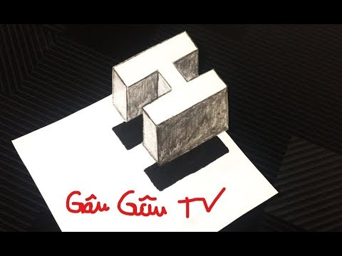 Làm NTN để vẽ chữ H 3D BAY TRÊN MẶT GIẤY – Vẽ 3D