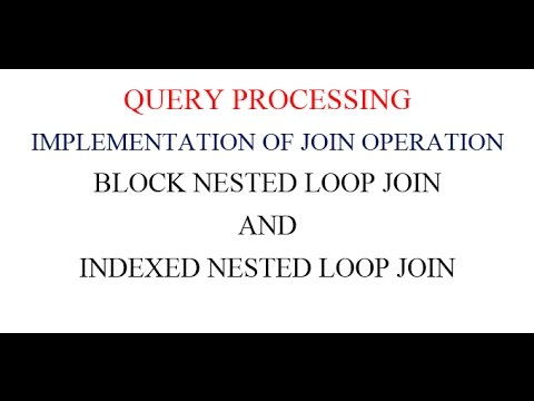 BLOCK NESTED LOOP JOIN AND INDEXED NESTED LOOP JOIN
