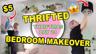 EXTREME ROOM MAKEOVER USING ONLY THRIFTED ITEMS!! DECORATING MY GUEST BEDROOM PT2   THRIFTMAS DAY 21