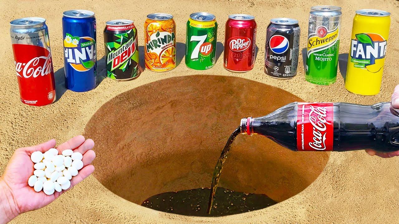 Experiment ! Cola, Fanta, Mtn Dew, Mirinda, Dr Pepper, Mentos in hole Underground