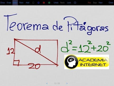 Un rectángulo cuyos lados son 12 y 20. Calcular la diagonal, teorema de Pitágoras.
