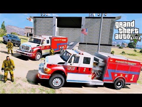 GTA 5 Firefighter Mod New Grapeseed Volunteer Fire Station & Fire Trucks Responding To Fires