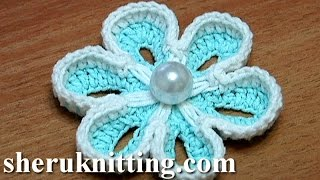 Repeat youtube video How To Crochet Two-Side 3D Flower Tutorial 36 الكروشيه زهرة 3D