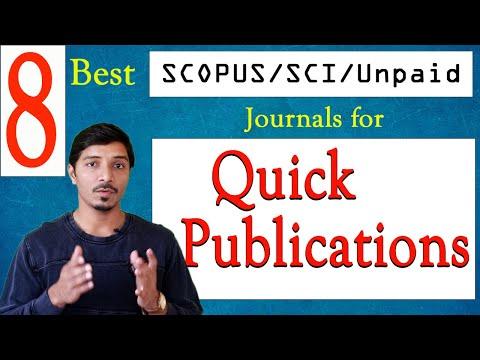 Best SCOPUS indexed Journals II SCI Journals II Unpaid Journals for Quick Publications
