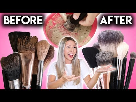 CLEANING MY MAKEUP BRUSHES FOR THE FIRST TIME! *SATISFYING*