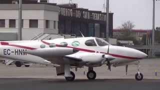 Aterrizaje Cessna 340 (Teade) por la pista 22 de LESO