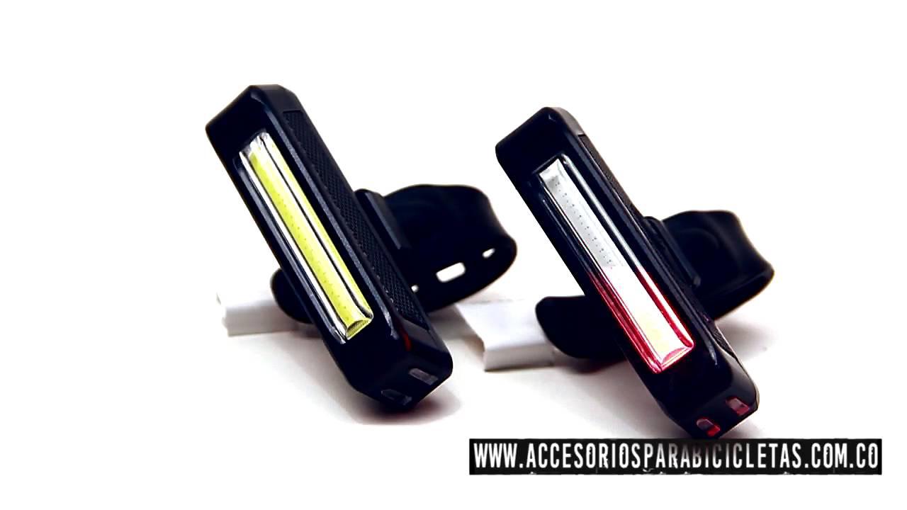 9bde4b8a9aaf7 Luz Led Bicicleta Trasera Delantera De Carga USB - Ilumina dos colores -  Ref 180