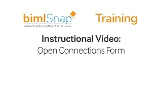 Open Connections Form - bimlsnap Tutorial