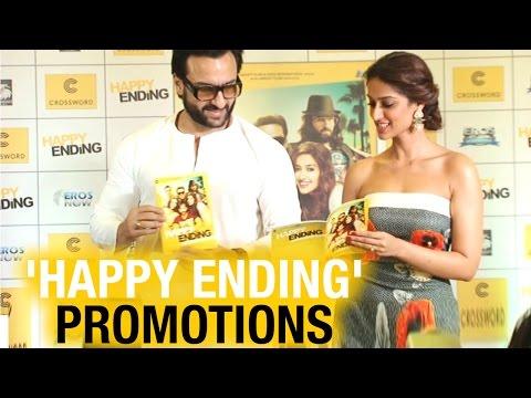 Saif Ali Khan and Ileana promote movie Happy Ending at Crossword bookstore in Mumbai