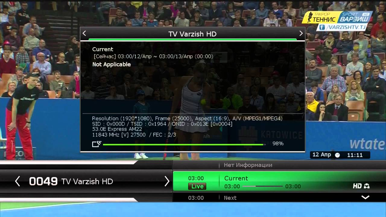 Varzish TV on Y1A at 52 5°E