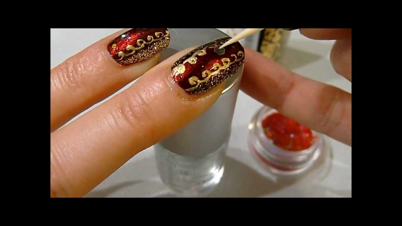 elegant red and gold christmas nail art - YouTube