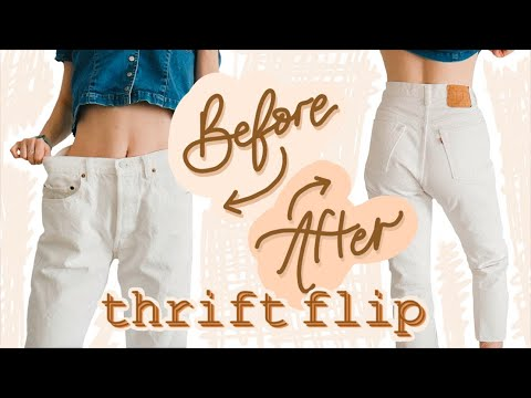 HOW TO: Resize your Oversized Jeans & make them HIGH WAISTED | Thrift Flip - YouTube