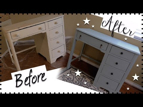 DIY VINTAGE DESK MAKEOVER! HOW TO CHALK PAINT FURNITURE! | How to use Chalk Paint