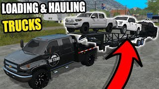 HAULING TRUCKS at the TOY STORE W/ NEW CAR TRAILER | FARMING SIMULATOR 2017