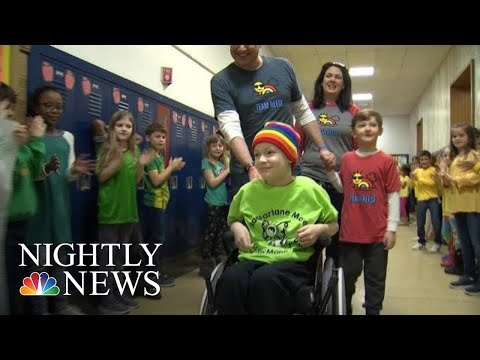 8-Year-Old Welcomed Back To School With Rainbow Parade After Finishing Chemo | NBC Nightly News