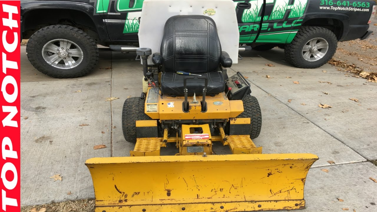 Install Snow Plow on Walker Mower More Leaf Cleanup Jobs Top Notch