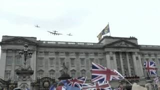 Flypast Buckingham Palace Royal Wedding - RAF Spitfire Hurricane Lancaster Tornado and Typhoon