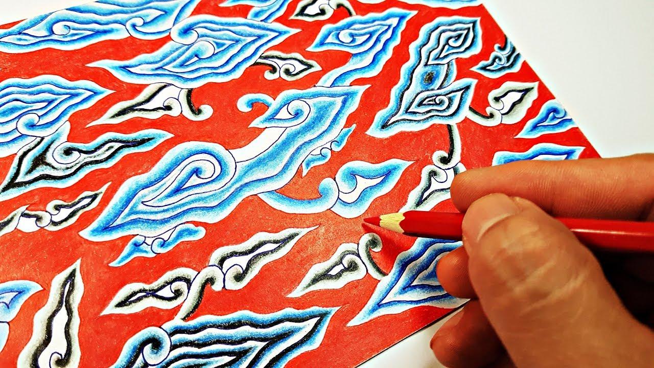 Menggambar Batik Motif Mega Mendung Batik Megamendung Khas Cirebon Youtube