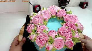 Белково заварной крем 7 роз одной насадкой нежный торт для девушки Танинторт