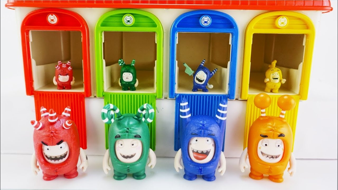 Oddbods Surprise Toys in Tayo Garage with Matching Color Candy Dropping in Slow Motion!