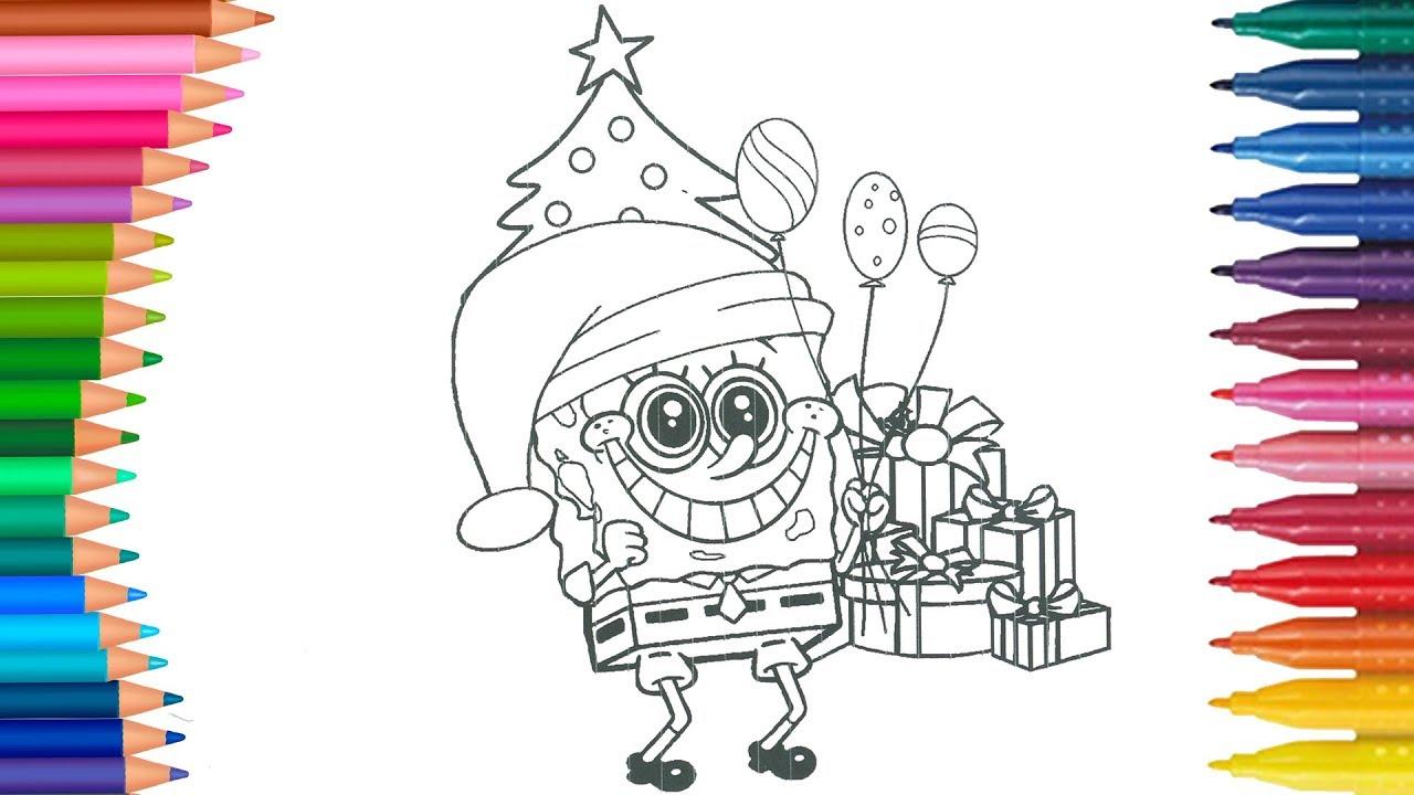 Weihnachten SpongeBob Schwammkopf  Wie zeichnet und färbt  Kleine Hände  Malbuch.