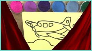 TÔ MÀU TRANH CÁT MÁY BAY SIÊU ĐẲNG - Colored sand painting super aircraft [Coden channel]