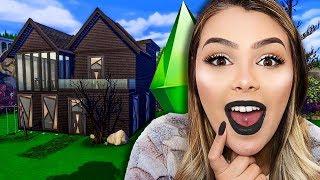Fiz uma casa TODA PRETA no The Sims! (Color Build Challenge)