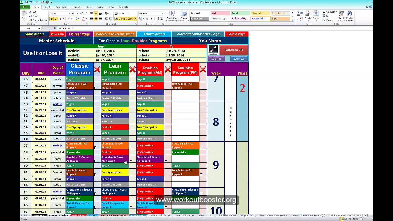 P90x Workout Schedule Calendar In Excel Sheets