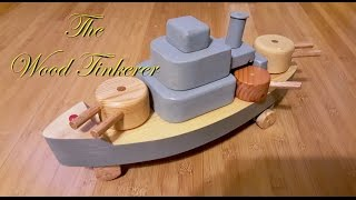 How to Build a Pull Behind Battleship Toy PART 1 of  2(A young boy would love to have hours of fun playing pulling and changing the look of this wooden boat. This is more than 4 wooden boats made into one., 2016-04-30T01:30:01.000Z)