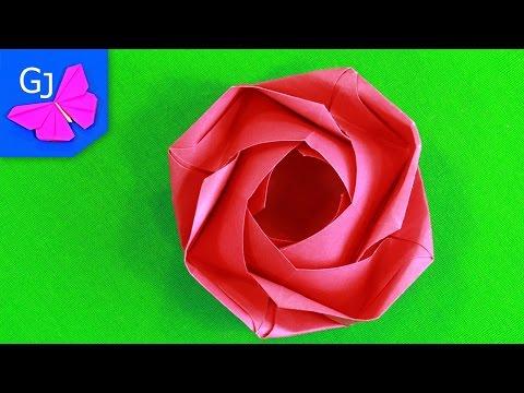 Как сделать розу из бумаги оригами видео