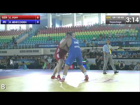 Repechage - Greco Roman Wrestling 130 kg - E. POPP (GER) vs B. MEHDIZADEH (IRI) - Tashkent 2014