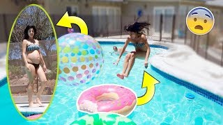 CAN A PREGNANT WOMEN JUMP 10 FT INTO THE HOLE!? *CHALLENGE*