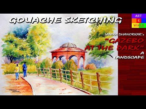 Gouache Sketching | Landscape | Tutorial Lessons Video | beginners | techniques
