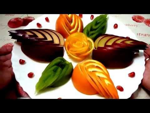 Роза из апельсина! Как красиво нарезать фрукты! Decoration of fruit!
