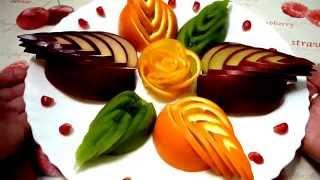 Роза из апельсина! Как красиво нарезать фрукты! Decoration of fruit!(Украшаем красиво тарелку фруктами (апельсин, яблоко, киви) My page on Facebook Моя страница https://www.facebook.com/carvingfantasis..., 2014-12-29T17:30:15.000Z)
