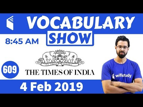8:45 AM - The Times of India Vocabulary with Tricks (4 Feb, 2019) | Day #609