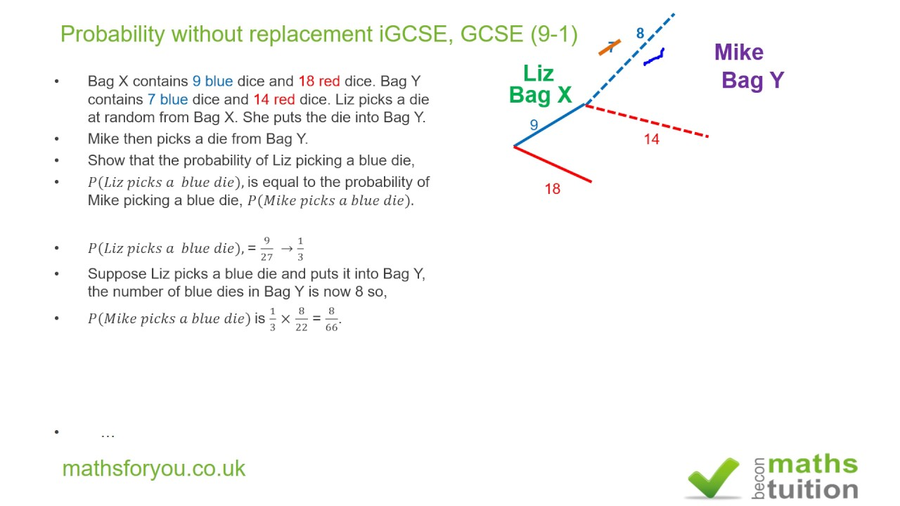 Probability without replacement igcse gcse 9 1 youtube probability without replacement igcse gcse 9 1 ccuart