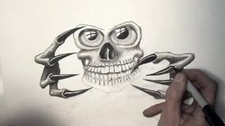 "how to draw skull with claws ""how to draw a skull"