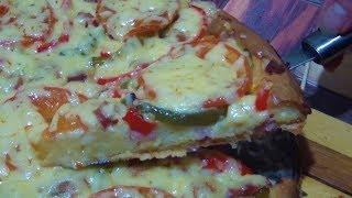 Открытый пирог с ветчиной и сыром