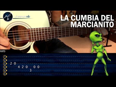Como tocar La Cumbia del Marcianito 100% Real no fake en Guitarra   Tutorial Punteo TABS