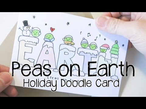 DIY Draw Cute Christmas Pun Card (Peas on Earth ) | Doodle with Me