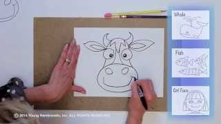 Teaching Kids How to Draw: How to Draw a Cartoon Cow